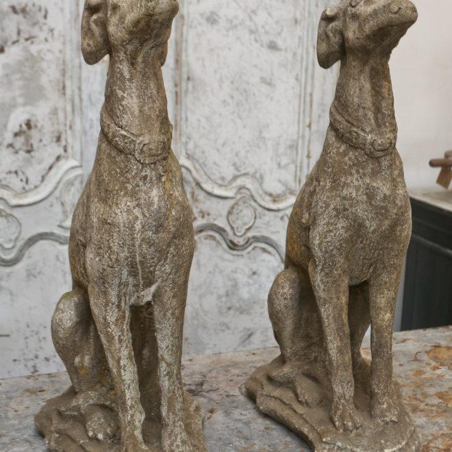 Pair composite stone Greyhounds 1