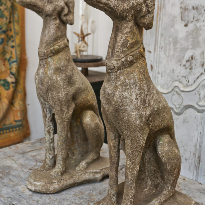 Pair composite stone Greyhounds 2