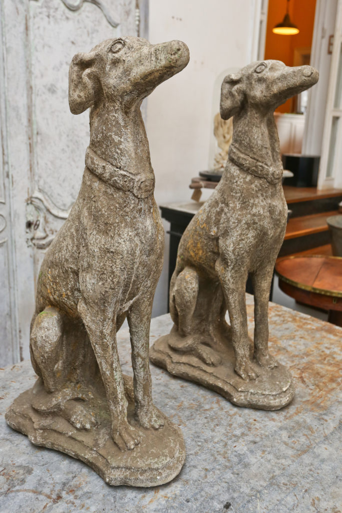 Pair composite stone Greyhounds 4